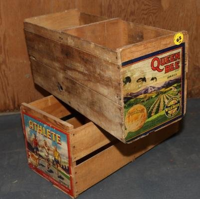 62 2 wooden fruit crates with labels lot 62 for Where do i find wooden crates