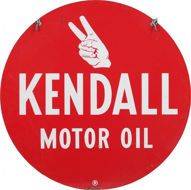 13 Kendall Motor Oil Double Sided Round Tin Sign Lot 13