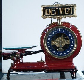 Restored Rare Angldile Scale W Brass Electric Sign