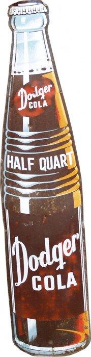 Dodger Soda Die-Cut Embossed Bottle Shaped Tin Sig