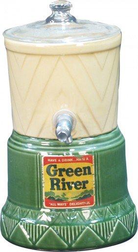 "Vintage Countertop Glass ""Green River"" Syrup/Liqui"