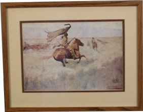 Indian On The Prairie, Frederic Remington Print,