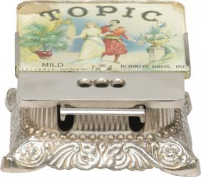 Topic Cigar Glass Top, Ornate Cast-Iron Cigar Cutt