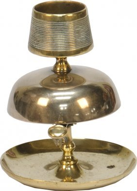 Early Yellow Bronze Hotel Front Desk Service Bell