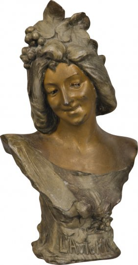 "Spelter Bust Statue Of Woman ""L' Automne"""