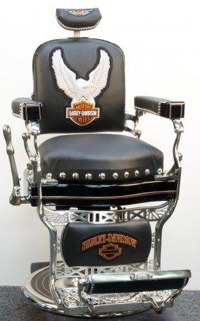 Restored Koken Barber Chair In Harley Davidson Motif Lot