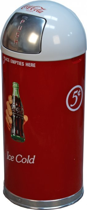 Coca Cola Quot Ice Cold Quot Cylinder Metal Trash Can W Lid