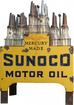 Sunoco Motor Oil Light Up Store Display Stand Lot 423