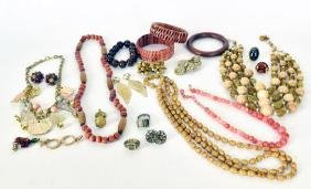 Collection Of Wood Bead Jewelry