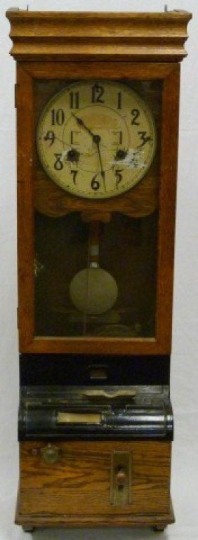 235: ANTIQUE WOODEN WALL PUNCH CARD TIME CLOCK : Lot 235 | 282 x 769 jpeg 38kB