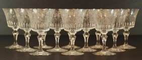 12 BACCARAT PARME FRENCH CRYSTAL WATER GOBLETS