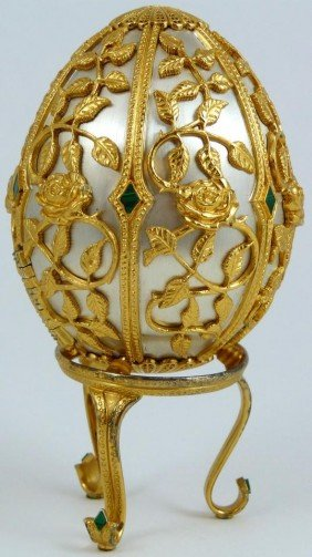 FABERGE RUSSIAN STERLING & MALACHITE BUTTERFLY EGG