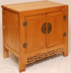 19th C CHINESE YELLOW ELM WOODEN CABINET