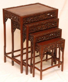 4pc CHINESE HUANGHUALI WOOD NESTING TABLE SET