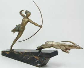 BRONZE SCULPTURE OF AMAZON HUNTER AND IMPALA
