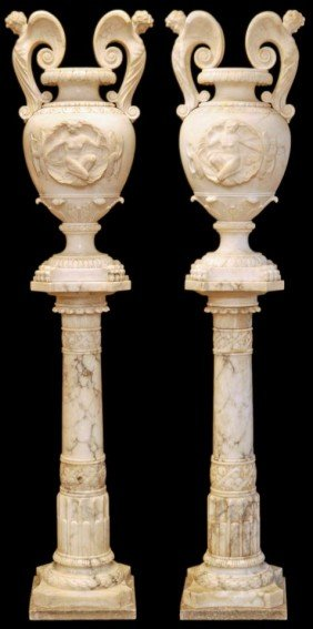 PAIR OF PALATIAL ITALIAN CARRERA MARBLE URNS