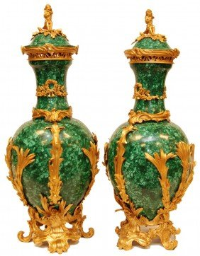 PAIR OF PALATIAL DORE BRONZE & MALACHITE URNS