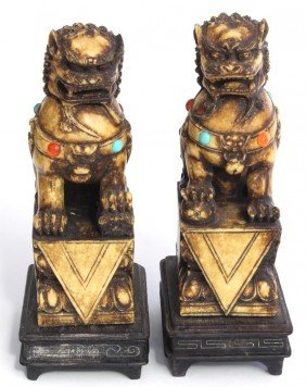 Pr CHINESE FOO DOGS WITH TURQUOISE AND AMBER