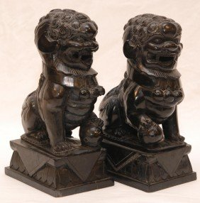PAIR OF CHINESE CARVED BLACK STONE FOO DOG FIGURES