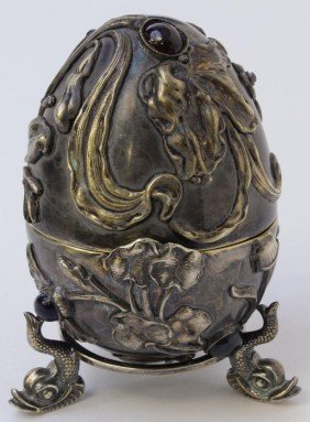 RUSSIAN SILVER JEWELED INSECTS EGG KHLEBNIKOV