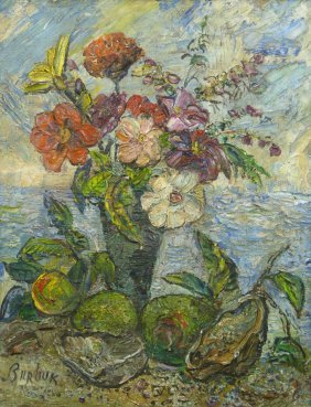 DAVID BURLIUK OIL ON PANEL OF STILL LIFE