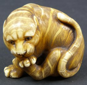 19th C JAPANESE CARVED IVORY STUDY OF TIGER