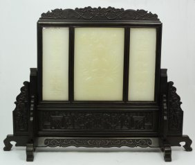CHINESE HAND CARVED JADE 3 PANEL GUAN YIN SCREEN