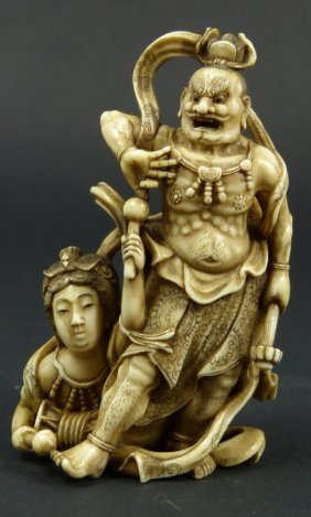 19th CENTURY JAPANESE STUDY OF ONI WITH MEIREN