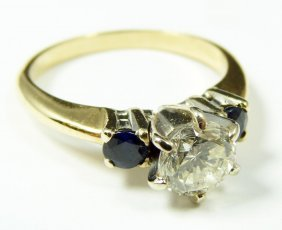 14K WHITE GOLD .92ct. DIAMOND AND SAPPHIRE RING