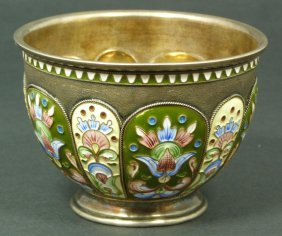 IMPERIAL RUSSIAN SILVER ENAMELED BOWL OVCHINNIKOV