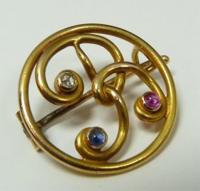 FABERGE GOLD PIN WITH DIAMOND & SAPPHIRE JEWELS