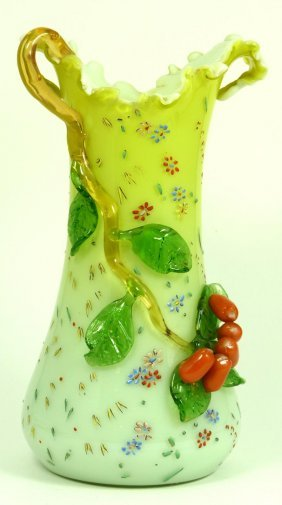 MURANO CASED GREEN ART GLASS FLORAL VASE