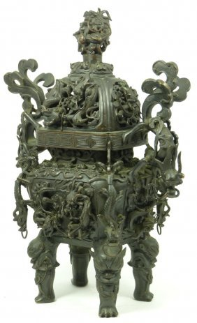 CHINESE QIANLONG BRONZE FOOTED DRAGONS CENSOR
