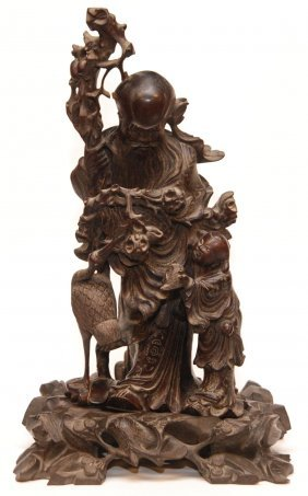 18th C CHINESE MYRRE WOOD SILVER INLAY CARVING