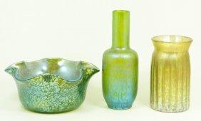3 LOETZ IRIDESCENT ART GLASS BOWL & VASES
