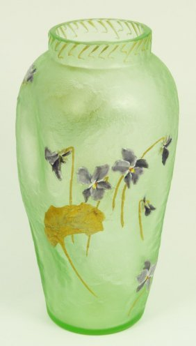 MONT JOYE ENAMELED GREEN ART GLASS VASE
