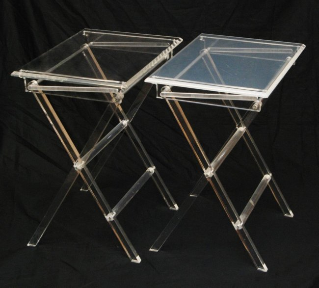 MID CENTURY MODERN LUCITE FOLDING TV TRAY TABLES Lot 278