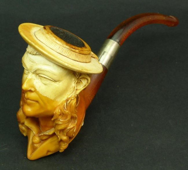 ANTIQUE CARVED MEERSCHAUM PIPE OF A SAILOR : Lot 6B