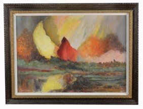 Paul Janis (20th C.)  Abstract Landscape