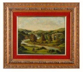 English School  Artist Painting Landscape
