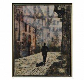 Franco Minei (It., 1922) Night Street Scene