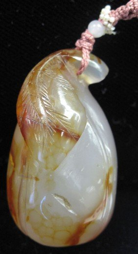 CARVED AGATE With BLOSSOM LEAF Length: 1 1/2""