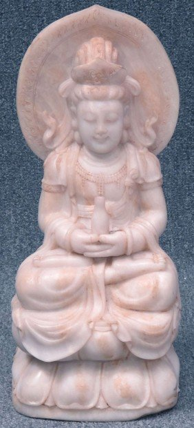 CHINESE CARVED STONE STATUE OF QUAN YIN Height: 22