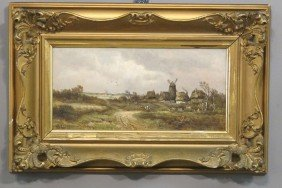 DANISH LANDSCAPE With Figures O/B, With Gesso Frame