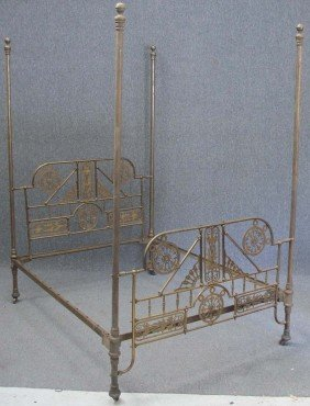 """VICTORIAN CAST BRASS FOUR POSTER BED Height: 97"""", W"""