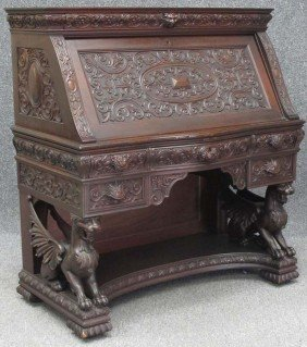 VICTORIAN CARVED MAHOGANY WRITING DESK With Full Bo