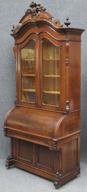 VICTORIAN ROSEWOOD CYLINDER ROLL DESK With Bookcase