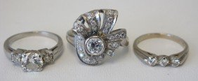 LOT OF (3) VINTAGE DIAMOND RINGS: Two 14kt And One