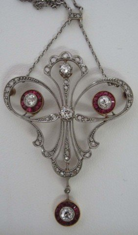 EDWARDIAN PLATINUM OVER GOLD DIAMOND WITH RUBY NECK