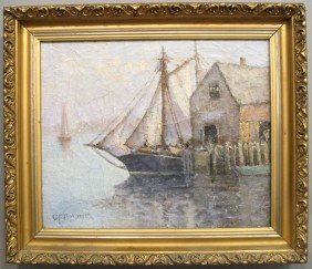 "GT. MARGESON, O/C Harbor Scene Sight: 13 1/2""x 16 1"